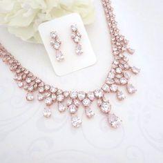 Stieg gold Anweisung Halskette, Halskette Rose Gold Bridal, Rose Gold-Schmuck-Set, Hochzeit Schmuck, Ohrringe, Collier-Set, Rotgold