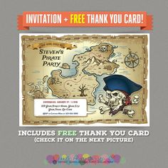Pirate Map Birthday Party Printable Invitation + FREE Thank you Card by PartyPrintables2go on Etsy