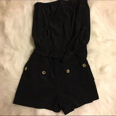 Express Black Romper with Gold Buttons - Size 6 Belted for waist, very flattering! Good condition. Express Other