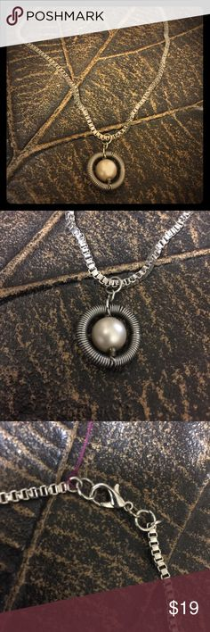 Recycled Car Part Jewelry!  This Spring necklace❤️ Recycled Car Part Jewelry!  This Spring necklace❤️. Make from a weaved chain, air conditioner hose spring, a pearled bead and a claw clasp. Torque by Jennifer Jewelry Necklaces