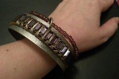 Metal Purple Beaded Cuff Bracelet by Naps on Etsy