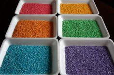 Homemade Rainbow Rice  - 3 EASY steps.  No mess, no waste, no rubbing alcohol - Happy Hooligans