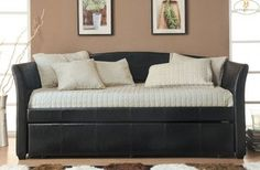 daybeds with pop up trundles | ... Modern Black PU Leather Daybed with Trundle review at Kaboodle