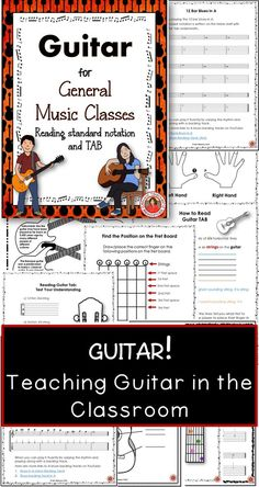 Teaching Guitar in the Music Classroom.I combined the best of the resources I have used over the years, with my Grade 7-10 guitar classes into this resource! I created these resources for my classes because students of this age don't want to be playing nursery rhymes.  ♫ CLICK through to preview or save for later!  ♫