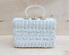 Wicker Handbag with Pearlescent Lucite Handles - Had this one!