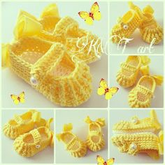 """<input class=""""jpibfi"""" type=""""hidden"""" >I always can't resist those super cute baby stuffs including these sweet slippers, they are nice handmade gift for baby, Free pattern shared by Kntart. For making it , you will need : a size 1/ 2.25mm hook Sport weight or worsted weight yarn 2 small bows 2 buttons Kntart -- Crochet baby shoes FREE…"""