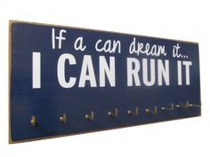 medals display rack - If i can dream it, I can run it. _ check this one out. Gifts For Marathon Runners, Gifts For Runners, Running Medals, Running Gifts, Diy Clothes Hanger Storage, Race Bib Display, Medal Rack, If I Can Dream, Race Bibs