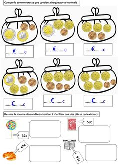 Locke: First class money cards Money Activities, Educational Activities, Activities For Kids, Subject And Verb, Teaching French, Math For Kids, Home Schooling, Math Worksheets, Math Games