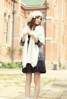 Fashion Knitted Warm Cape White Knit Fashion, Fashion Fashion, Cheap Coats, Vogue Beauty, Capes For Women, Cape Coat, Down Coat, Windbreaker Jacket, Cheap Fashion