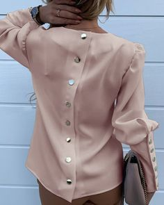 Work Wear Women Blouses Long Sleeve Back Metal Buttons Shirt - Winter Outfits Trend Fashion, Fashion Outfits, Club Fashion, 1950s Fashion, Fashion Black, Emo Fashion, Fashion Women, Long Blouse, Sexy Blouse