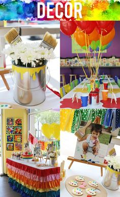 Colorful art themed painting birthday party. We're loving all these decor ideas - especially the paint can centerpieces!