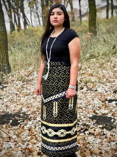 This skirt was handmade by Margaret Judy Kakenowash Azure (Turtle Mountain Chippewa) and features gold, white, and black ribbon on a gold and black polka dot cotton skirt.Based on the tradition. Native American Clothing, Native American Regalia, Native American Fashion, Native Fashion, American Women, American Indians, Traditional Skirts, Traditional Outfits, Ribbon Work
