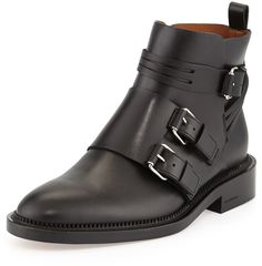 Givenchy Monk-Strap Calfskin Ankle Boot, Black