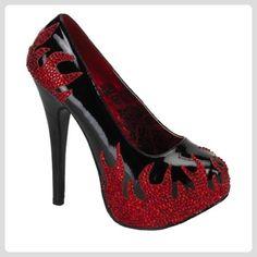 Lack High Heels mit Flammen 38 - Damen pumps (*Partner-Link)