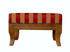 Fußhocker mit Holzgestell gestreift von Jana's kleine Möbelwelt auf DaWanda.com
