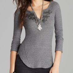 Free People embellished hook thermal XS small We The Free by FP WAFFLE BATTALION THERMAL, medium to dark gray long sleeve.  Gorgeous intricate embroidery at split neckline.  Also with hook and eye closures to adjust how much you want it open and how low it goes.  Shirttail scooped hems that are higher on the sides.  The material is amazingly soft and comfortable.  Size small, could fit XS too since it's a very fitted and stretchy top.  Rare!! Free People Tops Tees - Long Sleeve