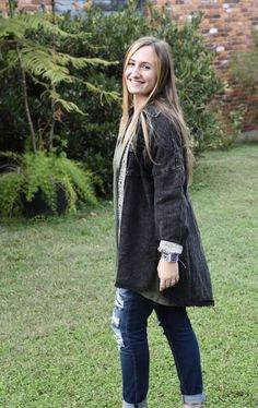 This oversized top features a longer raw hem in the back and a *fabulous* snake skin contrast on the inside of the buttons. Camouflage Jacket, Girls Boutique, Snake Skin, How To Wear, Jackets, Collection, Black, Tops, Fashion