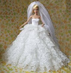 For Barbies Luxurious Nine Layers Wedding Dress Evening Dresses Big Veil Dress Western-style Dress For Barbie Doll Free Shipping
