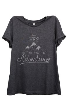 """""""Sat Yes To New Adventures"""" is featured on a crew neck, short sleeves and a new modern, slim or relaxed fit for effortless style. Printed on quality constructed blend materials, these shirts are perfe"""