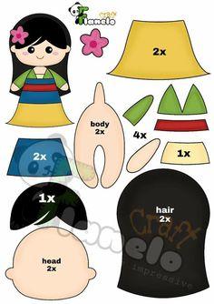 Felt Doll Patterns, Felt Animal Patterns, Felt Crafts Patterns, Stuffed Toys Patterns, Creative Kids, Creative Crafts, Disney Diy Crafts, Sewing Crafts, Sewing Projects