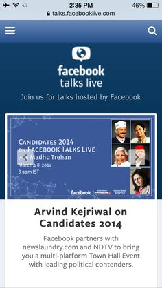 Candidates 2014 on Facebook Talks Live mobile version