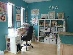 Lots of Ikea  furniture in this sewing room.