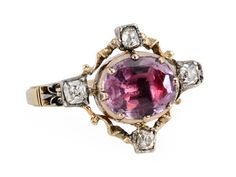 Georgian Ornate Amethyst Diamond Ring from the Three Graces seen on Ageless Heirlooms