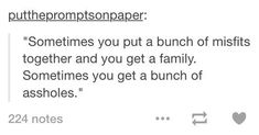 """""""Sometimes you put a bunch of misfits together and you get a family. Sometimes you get a bunch of assholes."""" """"We may be a bunch of misfits, but at least we are family."""" """"Or we're just assholes. Writing Tips, Writing Prompts, Dialogue Prompts, Infp, Guzma Pokemon, Tv Anime, The Wicked The Divine, Little Mac, Auryn"""