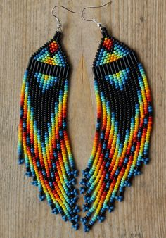 Blue Rainbow Native Inspired Beaded earrings