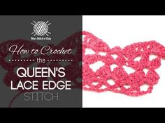 How to Crochet the Queens Lace Edge Stitch (Left Handed). For written instructions and photos please visit: . This video crochet tutorial will help you learn how to crochet the queens lace edge stitch. This stitch creates a fun lace edge patte Crochet Borders, Crochet Stitches Patterns, Crochet Chart, Crochet Lace, Stitch Patterns, Crochet Edgings, Free Crochet, Afghan Crochet, Crochet Granny