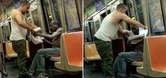 Vídeo de homem tirando a camisa para dar a morador de rua tremendo de frio vai aquecer seu dia