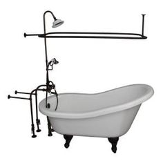 Barclay Products 5.6 ft. Acrylic Ball and Claw Feet Slipper Tub in White with Oil Rubbed Bronze Accessories-TKADTS67-WORB4 - The Home Depot Tub Shower Combo, Shower Rod, Shower Enclosure, Shower Stalls, Victorian Bathtubs, Clawfoot Tub Shower, Oil Rubbed Bronze Faucet, Acrylic Tub, Soaking Bathtubs