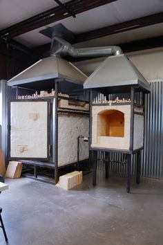 20cf kiln, gas fired updraft. small test kiln on the side