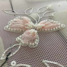 Wonderful Ribbon Embroidery Flowers by Hand Ideas. Enchanting Ribbon Embroidery Flowers by Hand Ideas. Embroidery On Kurtis, Kurti Embroidery Design, Bead Embroidery Patterns, Tambour Embroidery, Hand Work Embroidery, Couture Embroidery, Embroidery Fashion, Embroidery Jewelry, Silk Ribbon Embroidery