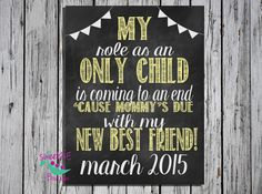 Customized Only Child expiring pregnancy reveal by sweetMEboutique