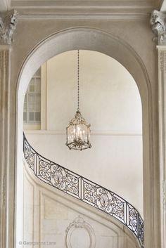 """ Musée Rodin, Paris "".  Beautiful wrought iron staircase & the columns. Beautiful architecture."