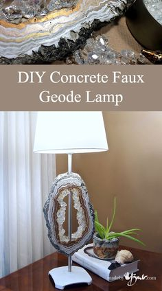 Using a bit of concrete, glass and some inks make this DIY concrete faux Geode Lamp No wiring or electrical needed Cheap to make but looks expensive! - diy-home-decor Concrete Crafts, Concrete Projects, Resin Crafts, Cement Art, Concrete Art, Concrete Sculpture, Concrete Table, Cool House Designs, Decoration