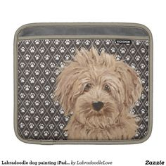 Labradoodle dog painting iPad pad horizontal Sleeve For iPads Labradoodle Dog, Ipad Sleeve, Cartoon Dog, Dog Paintings, Ipads, Dogs, Pet Dogs, Doggies, Drawings Of Dogs