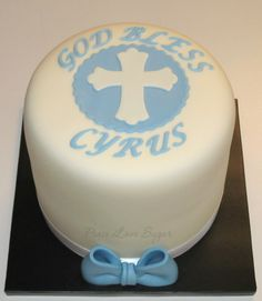 Blue Baptism Cake!  Peace.Love.Sugar https://www.facebook.com/pages/PeaceLoveSugar/107504169339809