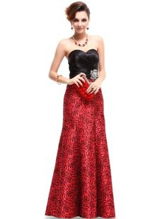 Ever Pretty Strapless Black Red Satin Floral Printed Ruffles Evening Gown 09727 - Listing price: $129.99 Now: $59.99