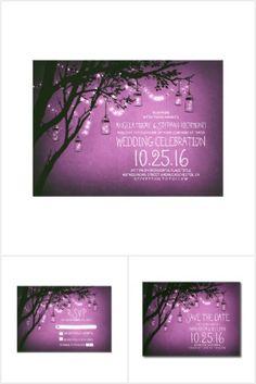 rustic purple mason jars lights wedding invite set
