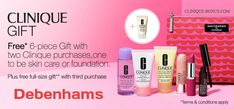 Bonus time at Debenhams UK and Ireland is going on now in February 2018. Get yours with 2 Clinique purchases.