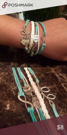Bracelet Multi-strand cord bracelet with silver colored owl accents. Jewelry Bracelets