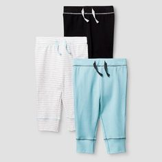 Baby Boys' 3 Pack Pants Baby Cat & Jack™ - Turquoise/Charcoal Heather : Target