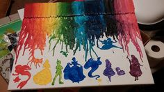 Disney melted crayon art 16x20 custom made by PinkPuffyHearts