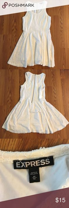 Express cream lace dress Never worn. Zipper broken at very bottom of dress (see last photo) but does still zip and unzip with no problems. Express Dresses