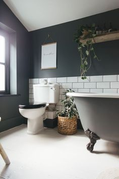 Love the colour  Farrow & Ball Downpipe - Decorating A Small Bathroom With Dark Colours To Give A Cosy Vibe