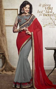 Picture of Splendorous Gray and Red Color Ravishing Saree