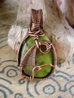 Copper Wrapped // Atlantisite // Wire Pendant by Magickwrapper, $45.00