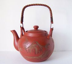 Vintage Japanese Terracotta Asian Teapot by TeaAndHoneyVintage, $36.00